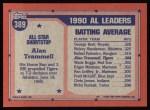 1991 Topps #389   -  Alan Trammell All-Star Back Thumbnail