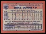 1991 Topps #238  Mike Dunne  Back Thumbnail