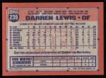 1991 Topps #239  Darren Lewis  Back Thumbnail