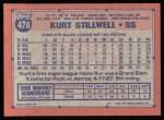 1991 Topps #478  Kurt Stillwell  Back Thumbnail