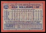1991 Topps #274  Ken Williams  Back Thumbnail