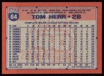 1991 Topps #64  Tom Herr  Back Thumbnail