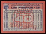 1991 Topps #145  Lou Whitaker  Back Thumbnail