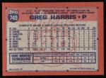 1991 Topps #749  Greg W. Harris  Back Thumbnail