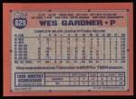 1991 Topps #629  Wes Gardner  Back Thumbnail