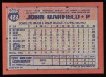 1991 Topps #428  John Barfield  Back Thumbnail