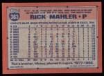1991 Topps #363  Rick Mahler  Back Thumbnail