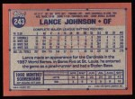 1991 Topps #243  Lance Johnson  Back Thumbnail
