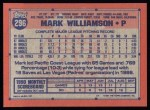 1991 Topps #296  Mark Williamson  Back Thumbnail