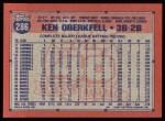 1991 Topps #286  Ken Oberkfell  Back Thumbnail