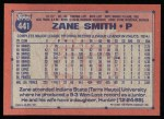 1991 Topps #441  Zane Smith  Back Thumbnail