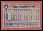 1991 Topps #120  Joe Carter  Back Thumbnail