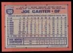 1991 Topps #120  Joe Carter  Back Thumbnail