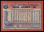 1991 Topps #117  Dion James  Back Thumbnail