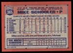 1991 Topps #365  Mike Schooler  Back Thumbnail