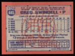 1991 Topps #445  Greg Swindell  Back Thumbnail