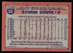 1991 Topps #22  Storm Davis  Back Thumbnail
