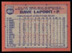 1991 Topps #484  Dave LaPoint  Back Thumbnail