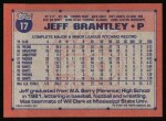 1991 Topps #17  Jeff Brantley  Back Thumbnail