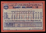 1991 Topps #416  Randy Milligan  Back Thumbnail
