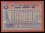 1991 Topps #192  Rob Deer  Back Thumbnail