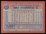 1991 Topps #317  Mike Fitzgerald  Back Thumbnail