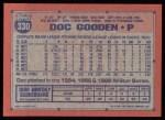 1991 Topps #330  Dwight Gooden  Back Thumbnail