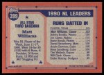1991 Topps #399   -  Matt Williams All-Star Back Thumbnail