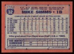 1991 Topps #32  Mike Simms  Back Thumbnail