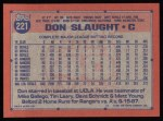 1991 Topps #221  Don Slaught  Back Thumbnail