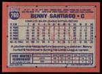 1991 Topps #760  Benny Santiago  Back Thumbnail