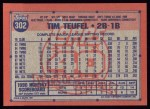 1991 Topps #302  Tim Teufel  Back Thumbnail