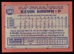1991 Topps #584  Kevin Brown  Back Thumbnail
