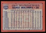 1991 Topps #229  Rance Mulliniks  Back Thumbnail