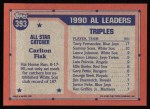 1991 Topps #393   -  Carlton Fisk All-Star Back Thumbnail
