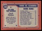 1991 Topps #386   -  Cecil Fielder All-Star Back Thumbnail