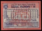 1991 Topps #295  Rafael Palmeiro  Back Thumbnail