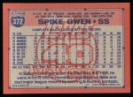 1991 Topps #372  Spike Owen  Back Thumbnail