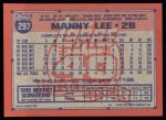 1991 Topps #297  Manny Lee  Back Thumbnail