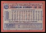 1991 Topps #732  Franklin Stubbs  Back Thumbnail