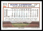 1992 Topps #111  Mark Carreon  Back Thumbnail