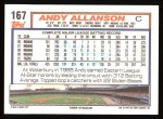1992 Topps #167  Andy Allanson  Back Thumbnail