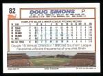 1992 Topps #82  Doug Simons  Back Thumbnail