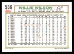 1992 Topps #536  Willie Wilson  Back Thumbnail