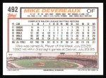 1992 Topps #492  Mike Devereaux  Back Thumbnail