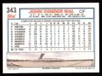 1992 Topps #343  John Vander Wal  Back Thumbnail