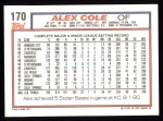 1992 Topps #170  Alex Cole  Back Thumbnail