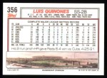 1992 Topps #356  Luis Quinones  Back Thumbnail