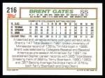 1992 Topps #216  Brent Gates  Back Thumbnail