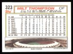 1992 Topps #323  Milt Thompson  Back Thumbnail
